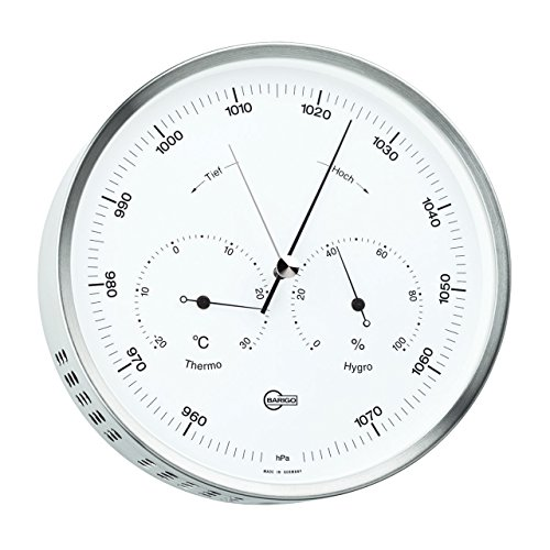BARIGO Wetterstation Baro-/Thermo-/Hygrometer Ø 162mm, Edelstahl, weiß