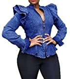 GRMO Women's Slim Ruffle Stand Collar Fashion Zip-Up Stretch Jeans Jacket Blue L