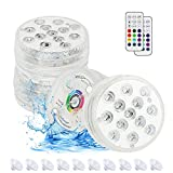 Zorara Submersible LED Lights with Remote RF, Pool Lights for Above Ground Pools, 16 RGB Color Changing Underwater Lights with Magnets, Suction Cups for Pond Fountain -4 Packs