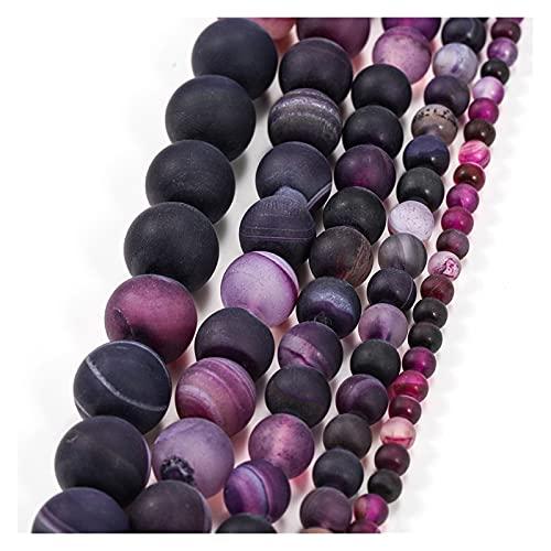 Cuentas de Piedra 1STRAND Piedra Natural Mate Mate Mate Mate Mate Purple BEADRAS Redondas 4 6 8 10 12 MM TAMAÑO DE Pieza JOYERÍA Que Hace Accesorio Fabricación de Joyas