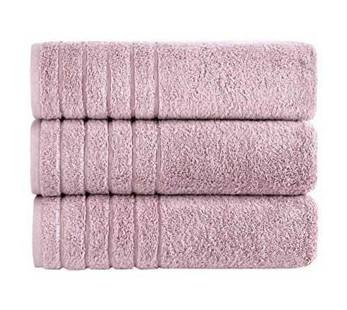 SALBAKOS Oversized Bath Towels Barnum Collection - Turkish Luxury Hotel & Spa Quality Oversize Bath Towels 100% Combed Cotton, Eco-Friendly (3 Piece Hand Towel and Washcloth Set, Rose)