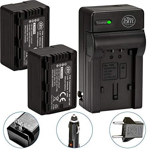 BM Premium 2-Pack of VW-VBT190 Batteries and Battery Charger for Panasonic HC-V800K, HC-VX1K, HC-WXF1K, HCV520, HC-V550, HCV710, HCV720, HC-V750, HC-V770, HC-VX870, HC-VX981, HC-W580, HC-W850, HCWXF99