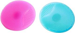 Lurrose 2 stuks siliconen gezichtsborstel handmatige gezichtsreiniging pad zachte gezichtsreiniger (blauw en roze)