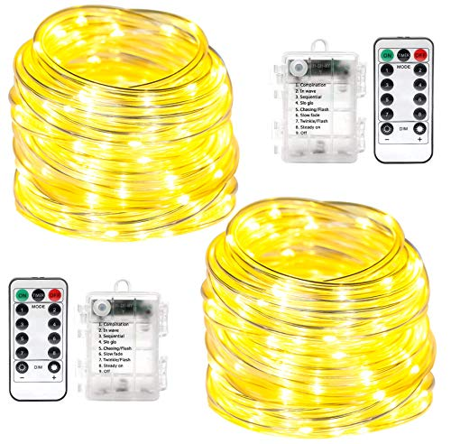 2 Pack LED Rope Lights Battery Operated String Lights 33ft 100 LED 8 Modes Outdoor Waterproof Twinkling Fairy Lights for Patio Garden Backyard Balcony Porch Deck Pool…