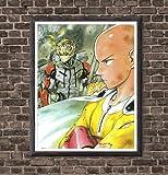 XXJ Art Original Design Manga Anime Theme One Punch Man Saitama Genos Farbic Paper Wall Artwork Poster for Living Room Decoration,8 X 10 Inches,No Frame