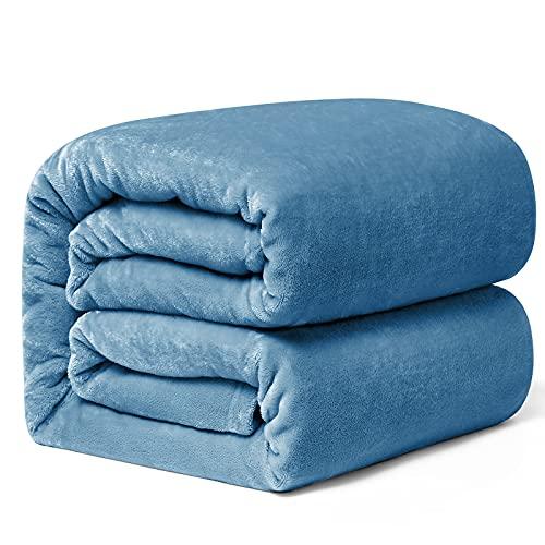 Hansleep Kuscheldecke Hellblau 220x240 cm Wohndecke Fleecedecke extra Weich und Warm Sofadecke/Couchdecke Flauschige Decke Mikrofaser Bettüberwurf Tagesdecke
