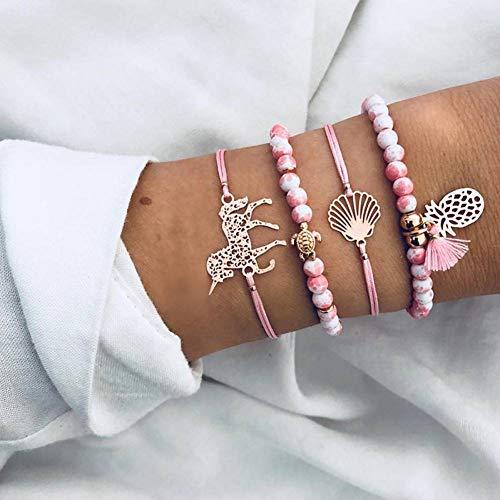 DMUEZW 4 stks Ananas Paard Hart Charm Armband Voor Vrouwen Handgemaakte Weave Roze Kralen Tassel Strand Armband Set