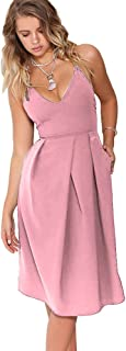 Women's Deep V Neck Adjustable Spaghetti Straps Summer Dress Sleeveless Sexy Backless Party Dresses with Pocket