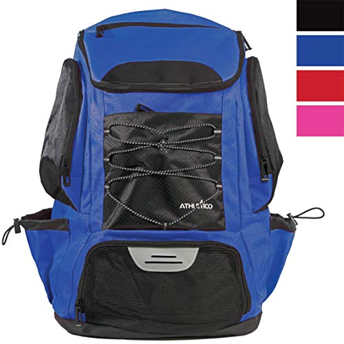 Athletico Swim Backpack - Swim Bag with Wet & Dry Compartments for Swimming, The Beach, Camping - Pool Bags Include Laptop Sleeve (Blue)