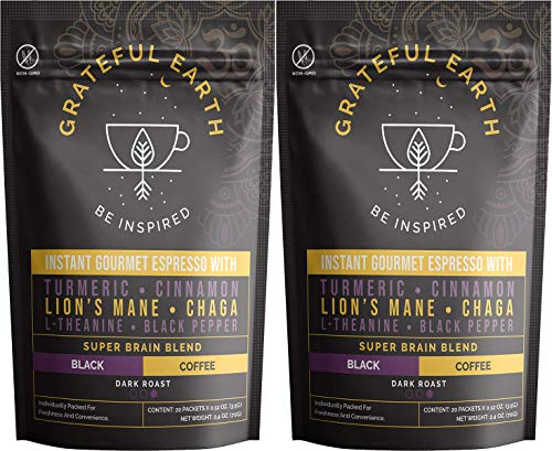 Grateful Earth: Super Brain Blend Instant Gourmet Espresso - Instant Black Coffee with Nootropics - 2 Packs (40 packets) - Microground Robusta and Arabica Coffee with Turmeric, Cinnamon, Black Pepper