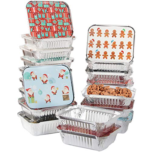 40 Pieces Christmas Foil Containers with Lid, 8 Holiday Designs, 7'x5.5'x2', Christmas Small Gift Bags Santa Sacks,