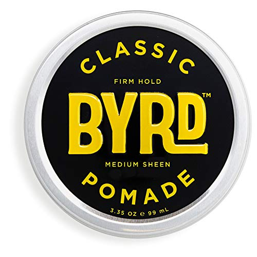 BYRD Classic Pomade - Firm Hold, Medium Sheen, For All Hair Types, Mineral Oil Free, Paraben Free, Phthalate Free, Sulfate Free, Cruelty Free, Wax Based, 3.35 Oz