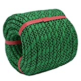 YUZENET Braided Polyester Arborist Rigging Rope (3/8' X 100') Strong Pulling Rope for Climbing Sailing Gardening Swings,Green/Black