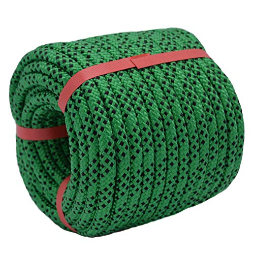 """YUZENET Braided Polyester Arborist Rigging Rope (3/8"""" X 100') Strong Pulling Rope for Climbing Sailing Gardening Swings,Green/Black"""