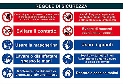 SALPIE Cartello Adesivo Segnaletica Covid 19 Regole di Sicurezza per Interni ed Esterni 34x50 cm - 2 Pezzi