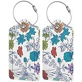 BCLYPBO Etiquetas coloridas del equipaje del cuero de las flores del arte del jardín, etiquetas del equipaje, etiquetas de la maleta del cuero de la PU con el lazo del acero inoxidable 2 PC Set