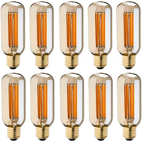 Vintage Edison Bombilla, Bombilla LED Vintage E27 6W (Equivalente a 60W) 2200K Retro Edison Lámpara Ambar Cálido Bombillas Incandescentes para Lluminación y Decoración 220V-240V (10 Piezas),E26 110V