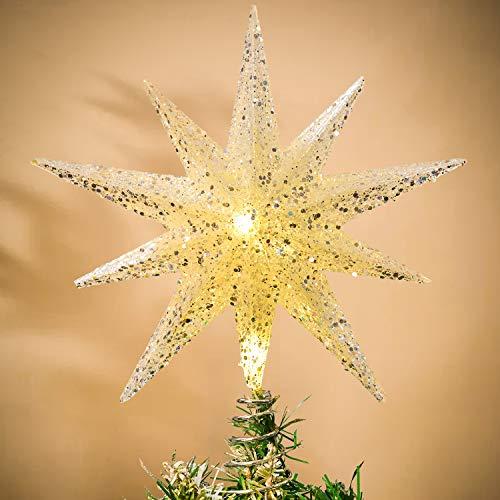 YQing 12 Zoll Weihnachten Baumspitze Stern, Christbaumspitze Glitzernden Baumspitze LED Stern Deko Weihnachten Baumkrone Tree Topper für Weihnachtsbaum Dekoration oder Wohnkultur