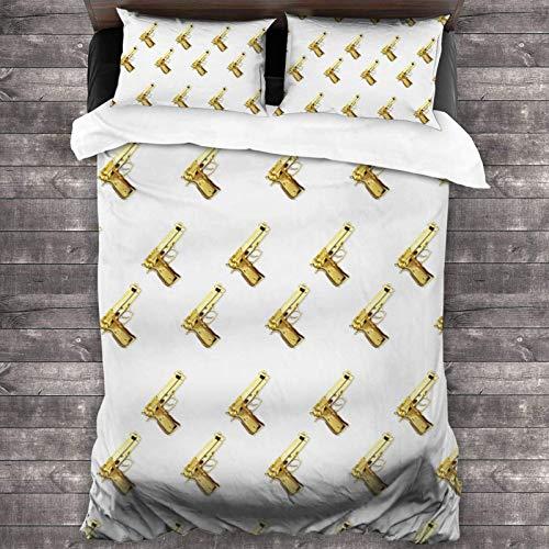 Tumblr - Juego de ropa de cama (3 piezas, 218 x 177 cm), diseño de papel pintado dorado