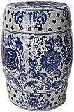 Oriental Furniture 18' Floral Blue & White Porcelain Garden Stool