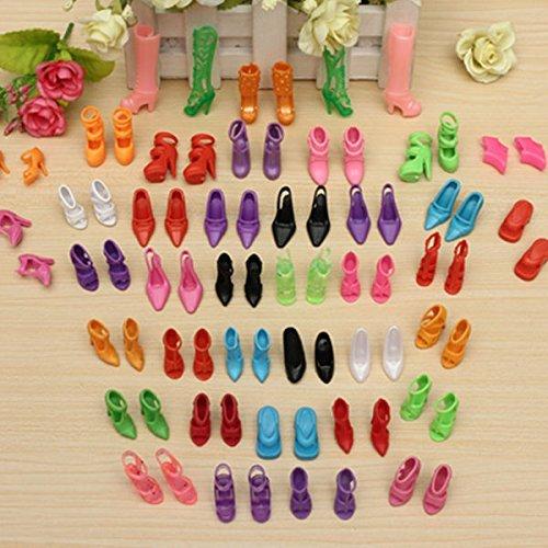 Hinter Verschiedene High Heels Schuhe Stiefel Zubehör für Barbie-Puppe, 40 Paar