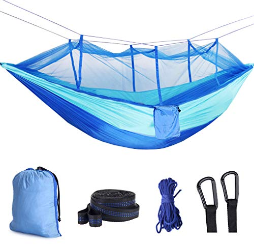 Idefair Hammock with Mosquito Net, Double Camping Hammocks Net Waterproof Portable and Lightweight for Backpacking Hiking Travel Outdoor
