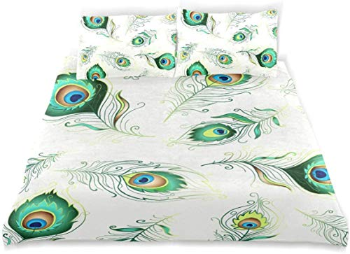 Totun Duvet Cover Set Beautiful Seamless Pattern Colorful Peacock Feathers Decorative 3 Piece Bedding Set with 2 Pillow Shams Easy Care Anti-Allergic Soft Smooth