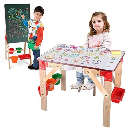 Arkmiido Pizarra Infantil 2en1, Caballetes para Niños, Pupitres Infantil Multifunción, Pizarra Magnética con Taza de Almacenamiento y Accesorios, Juguetes Educativos Regalo para niños niñas 3 años+