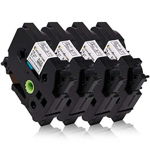 4 Pack Compatible for Brother TZe-241 TZe241 P-Touch Label Tape 18mm 3/4 Inches Black on White Standard Laminated Tape TZ-241