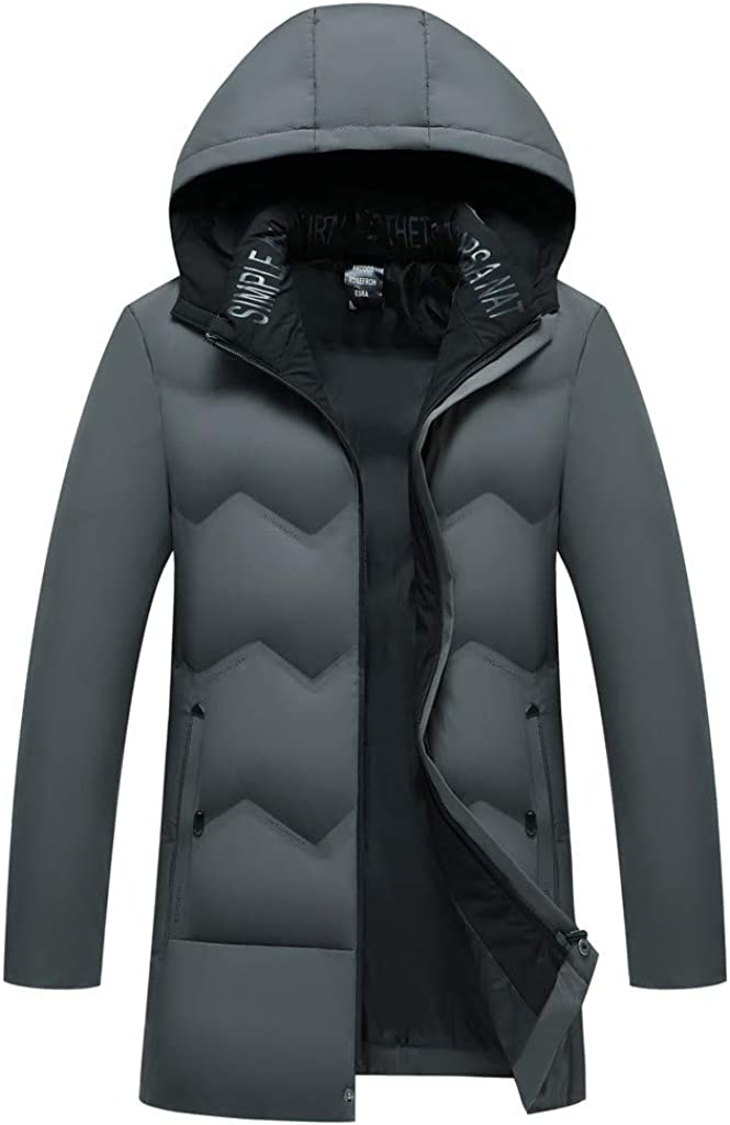 DIOMOR Classic Outdoor Hooded Long Puffer Jacket Down Coat for Men Removable Hood Parkas Fashion Windbreaker Outerwear