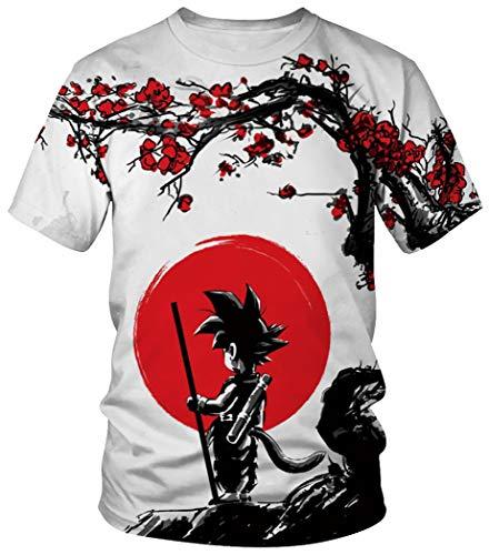 Ocean Plus Unisexo Casual Impresión 3D Deporte Hombre Camisetas de Manga Corta Mujer Partnerlook Carnaval Streetwear (XL/170-175, Sol Rojo Goku)