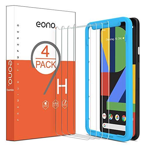Eono Essentials [4 Stück] Panzerglas Schutzfolie kompitabel mit Google Pixel 4, mit Positionierhilfe, Anti-Kratzen, Anti-Bläschen