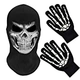 Melop Full Face Skeleton Skull Ghost Halloween Balaclava Face Mask for Cosplay Costume Cycling Outdoor Sport with Skeleton Pattern Gloves Glow in The Dark