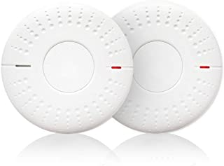 2 Pack Photoelectric Smoke Detector Sealed-in 10 Year Lithium Battery-Operated Fire Alarm