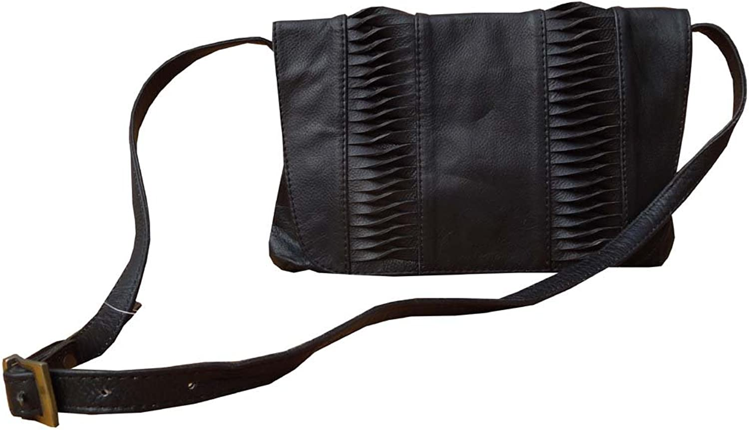Spice Art Women's Black Cow Leather Cross Body Bag