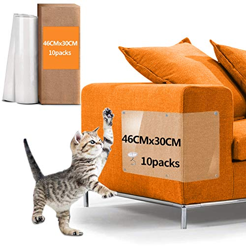YMCCOOL Cat Couch Protector FurnitureTape, Cat Paw Tape 10pack 46cm x 30cm Large Size,Couch Protector Cat Scratch Tape for Sofa Deterrent (10)