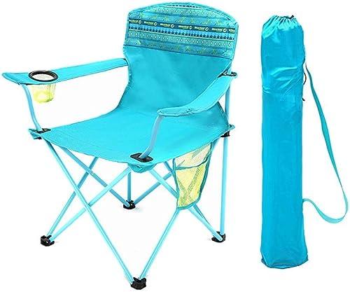 YLCJ Chaise de Camping Pliante en Plein air, Chaise avec Sac de Transport et Porte-gobelets, Parfaite pour la Maison Patio terrasse Vacances Plage - Bleu