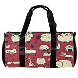 TIZORAX Bolsa de lona para mujeres hombres de dibujos animados animales de granja deportes gimnasio bolsa de mano fin de semana noche bolsa de viaje al aire libre equipaje bolso