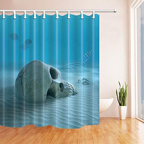 ottbrn Ocean douchegordijnen schedel op zanderige oceaan bodem met kleine vissen schoonmaken sommige botten polyester stof waterdichte badkamer bad gordijn douchegordijn haken inbegrepen 72X72in