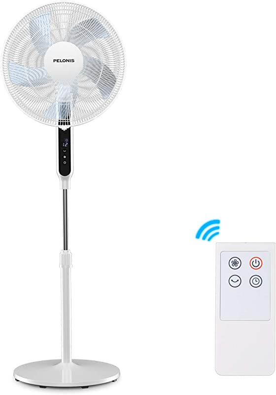Pelonis 16 DC Motor Ultra Quiet Pedestal Fan For Sleeping Baby High Energy Efficency Standing Fan With 12 Speed 12 Hour Timer Remote Control And Adjustable Heights FS40 19PRD White