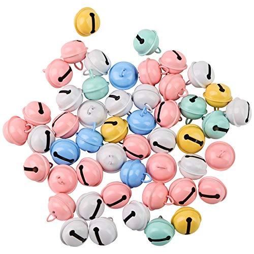 Koogel 50 Stück Bunte Metallglöckchen, 5 Farben Schellen Glöckchen mit Ösen 25mm Durchmeser zum Basteln Anhänger für Handwerk Haustier Schmuckherstellung Weihnachtendeko
