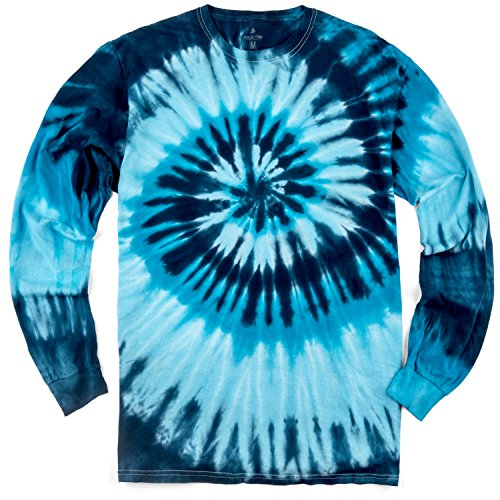 Magic River Long Sleeve Handcrafted Tie Dye T Shirts - Blue Ocean - Adult XXLarge