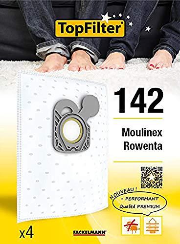 Top Filter Lot de 4 Sacs aspirateur pour Moulinex/Rowenta, Synthétique, 26 x 18 x 3,5 cm