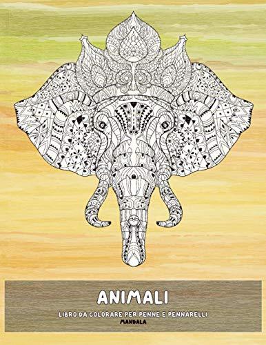 Libro da colorare per penne e pennarelli - Mandala - Animali