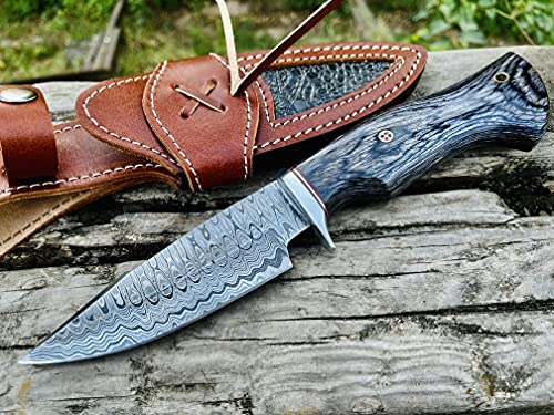05 Bandle Custom Handmade Hunting Knife Camp Knife Damascus Steel Skinning Knife EDC 9.3'' Overall Black Micarta with Custom Sheathe