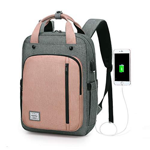Wind Took USB Anschluss Laptop Rucksack Damen Daypack Schulrucksack für 15 Zoll Notebook, Wasserabweisend, Rosa