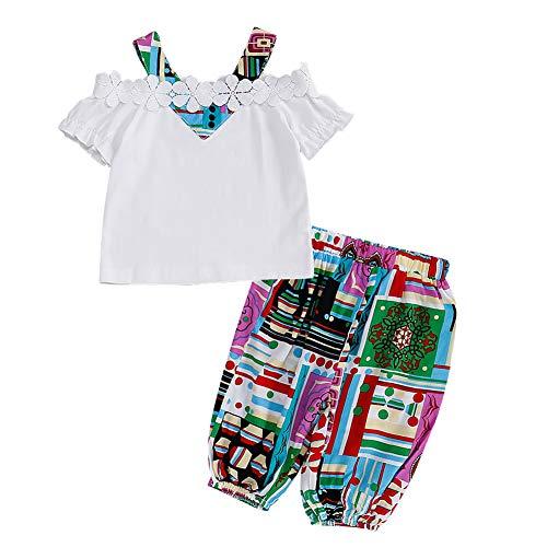 Anmino Kleinkind Baby Mädchen Kleidung Mädchen Hosen Set Off-Shoulder Kurzarm Rüschen Top und Hosen Outfits Set Sommerkleidung für 1-6 Jahre alte Mädchen