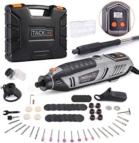 TACKLIFE Rotary Tool 200W with LCD Display Screen, 10 Variable Speed 10000-40000Rpm, 61 Accessories and 4 Attachments Flexible Shaft Multi Tool Polishing RTD37AC