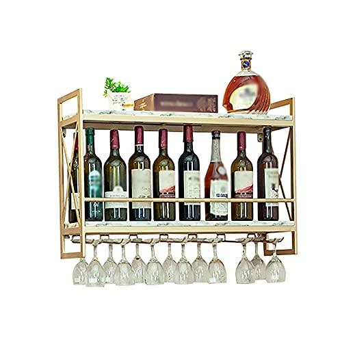 Baldas flotantes Estante de vino de la pareadora, marco nórdico de hierro forjado + madera de contrachapado de madera contrachapada de madera contrachapada, visualización de vino al revés y estante de