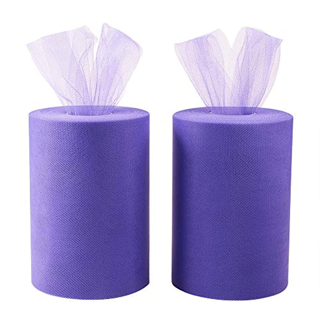 BENECREAT 2 Roll 200 Yards/600FT High Density Tulle Roll Fabric Netting Rolls for Wedding Party Decoration, DIY Craft, 6 Inch x 100 Yards Each (Purple)
